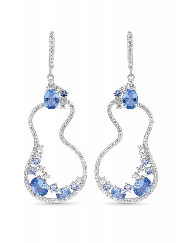 Silgo 925 Sterling Silver 24.00 Ctw Blue Cubic Zirconia Dangle Earrings For Women And Girls
