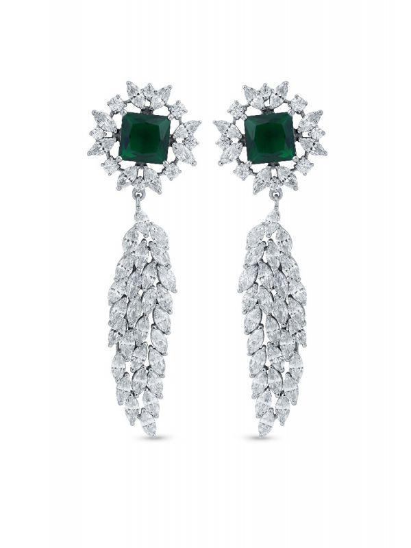Silgo 925 Sterling Silver White & Green Cubic Zirconia Flower Dangle Earrings For Women And Girls