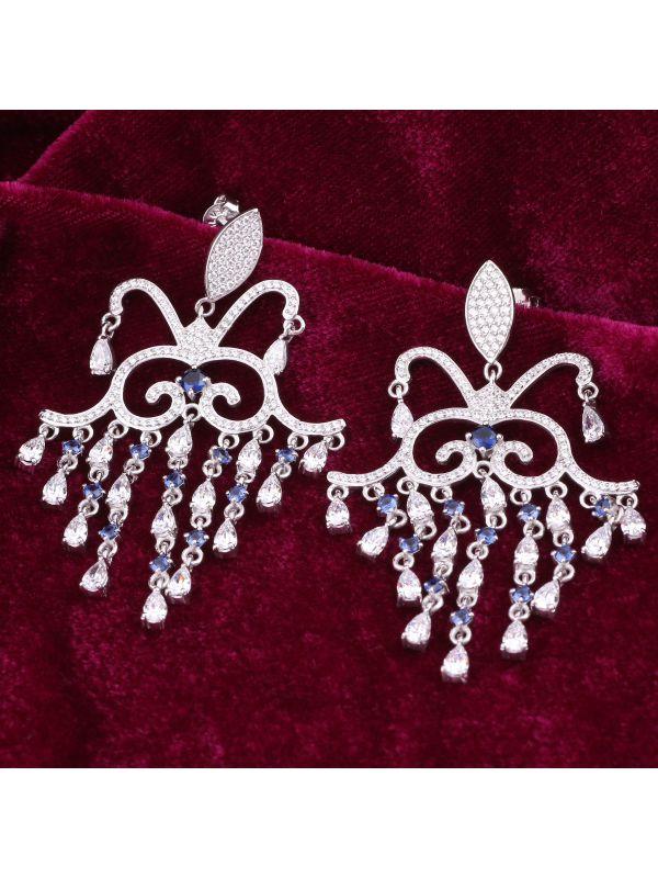 Silgo 925 Sterling Silver White & Blue Cubic Zirconia Chandelier Dangle Earrings For Women And Girls