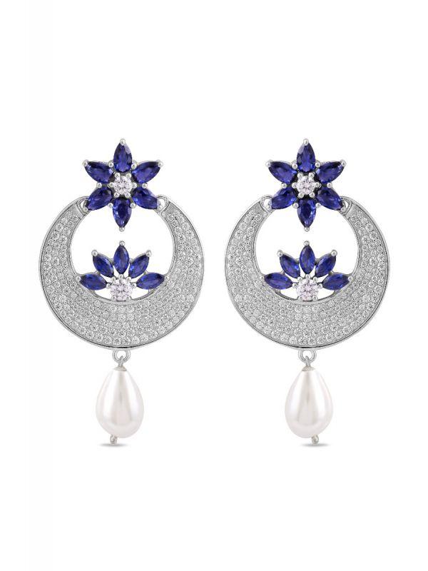 Silgo 925 Sterling Silver earrings for women - Blue Cubic Zirconia Earrings - Dangle earrings for women