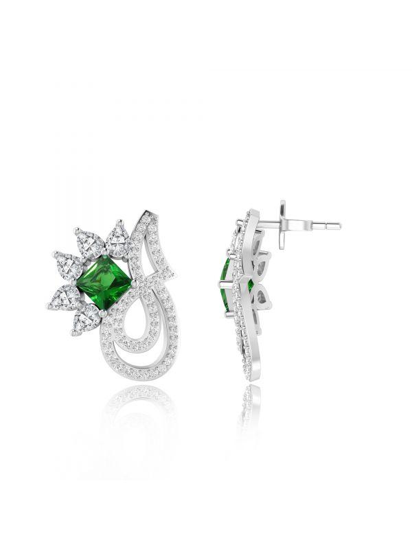 Silgo 925 Sterling Silver Green Cubic Zirconia Rhodium Plated Women Stud Earrings