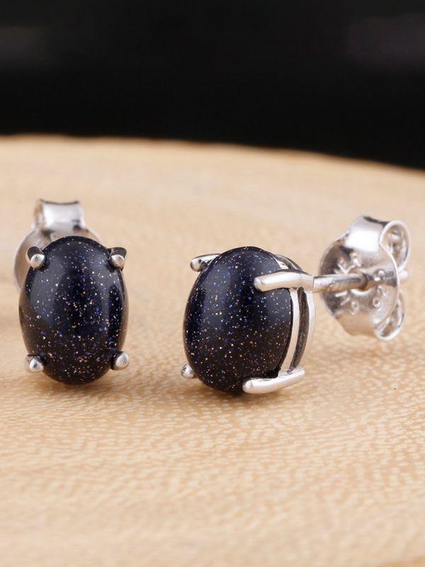 925 sterling silver white rhodium plated designer studs blue sunstone oval