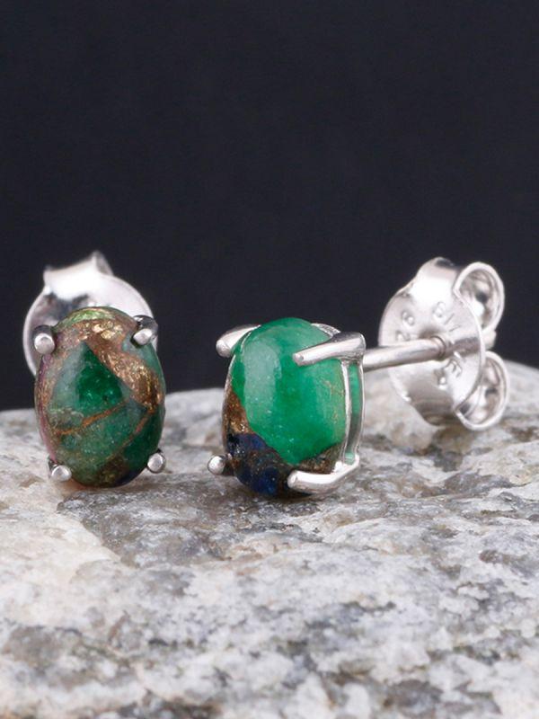 925 sterling silver white rhodium plated 7x5 mm designer stud earrings