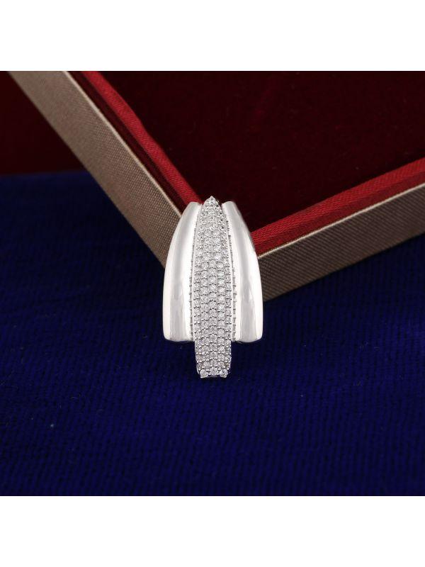 Silgo 925 Sterling Silver Rhodium Plated Cubic Zirconia Stone Women Pendant Jewelry