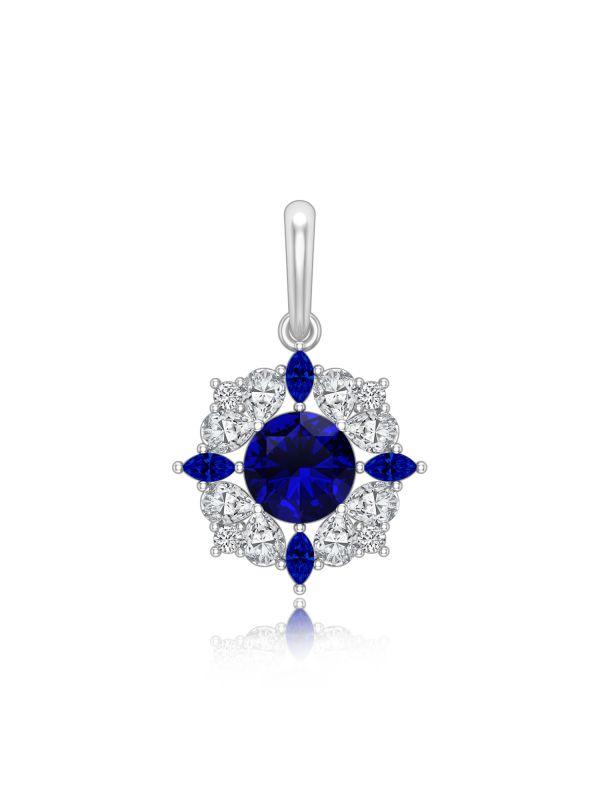 Silgo 925 Sterling Silver Rhodium Plated Blue Cubic Zirconia Women Pendant Jewelry