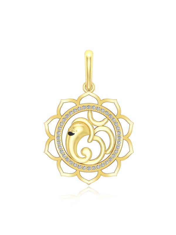 ebd091f7b42b9 Silgo Yellow Gold Plated Ganesha Om Design 925 Sterling Silver Round  Pendant for Women