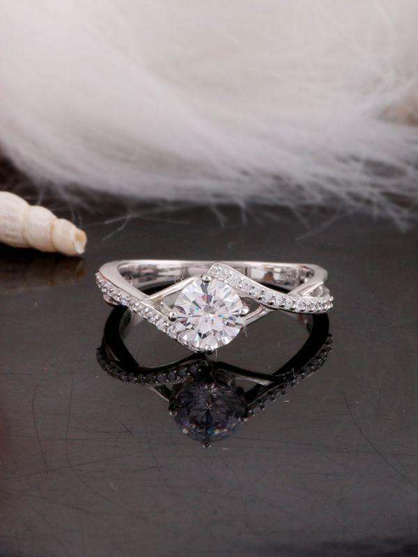 Silgo 925 Sterling Silver Cubic Zirconia Rhodium Plated Women Anniversary Ring